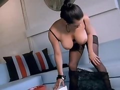 Brunette bitch shows off wet pussy