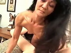 Brunette mature lesbian licks young pussy of babe