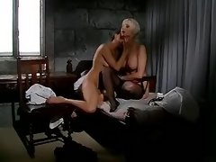 Blond lesbian in stockings eats out pussy of nun